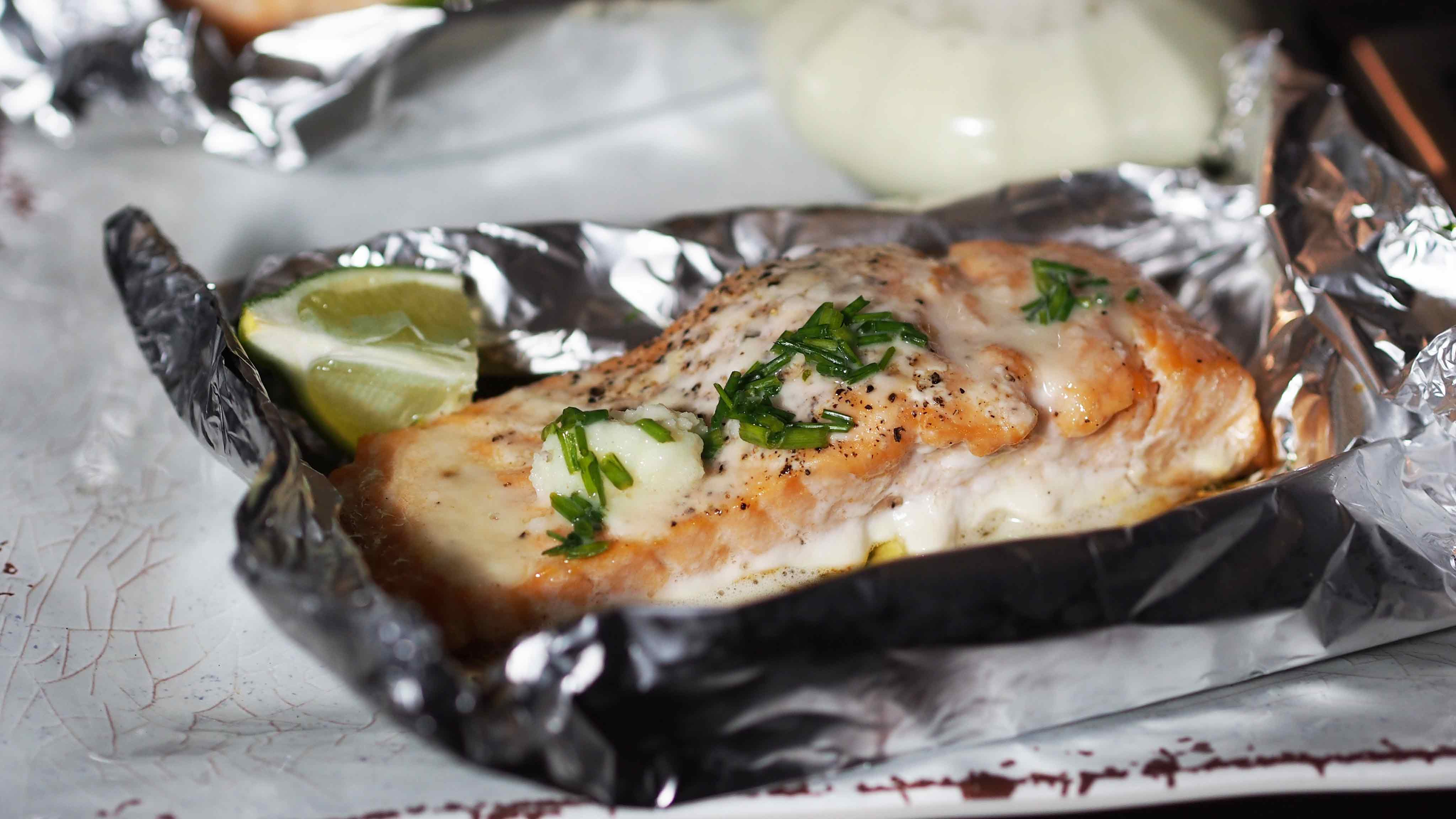 Image for Recipe Grilled Salmon with Lime Butter Sauce