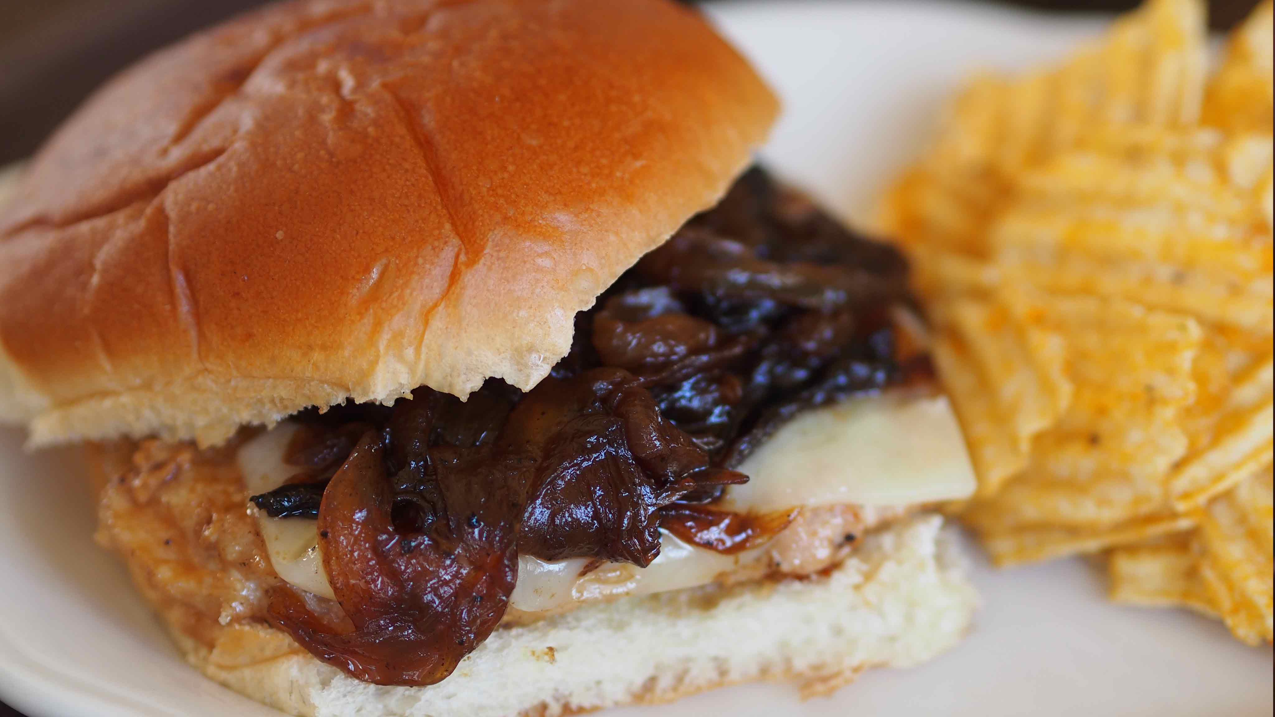 Image for Recipe Pan Fried Pork Sandwich with Caramelized Onions