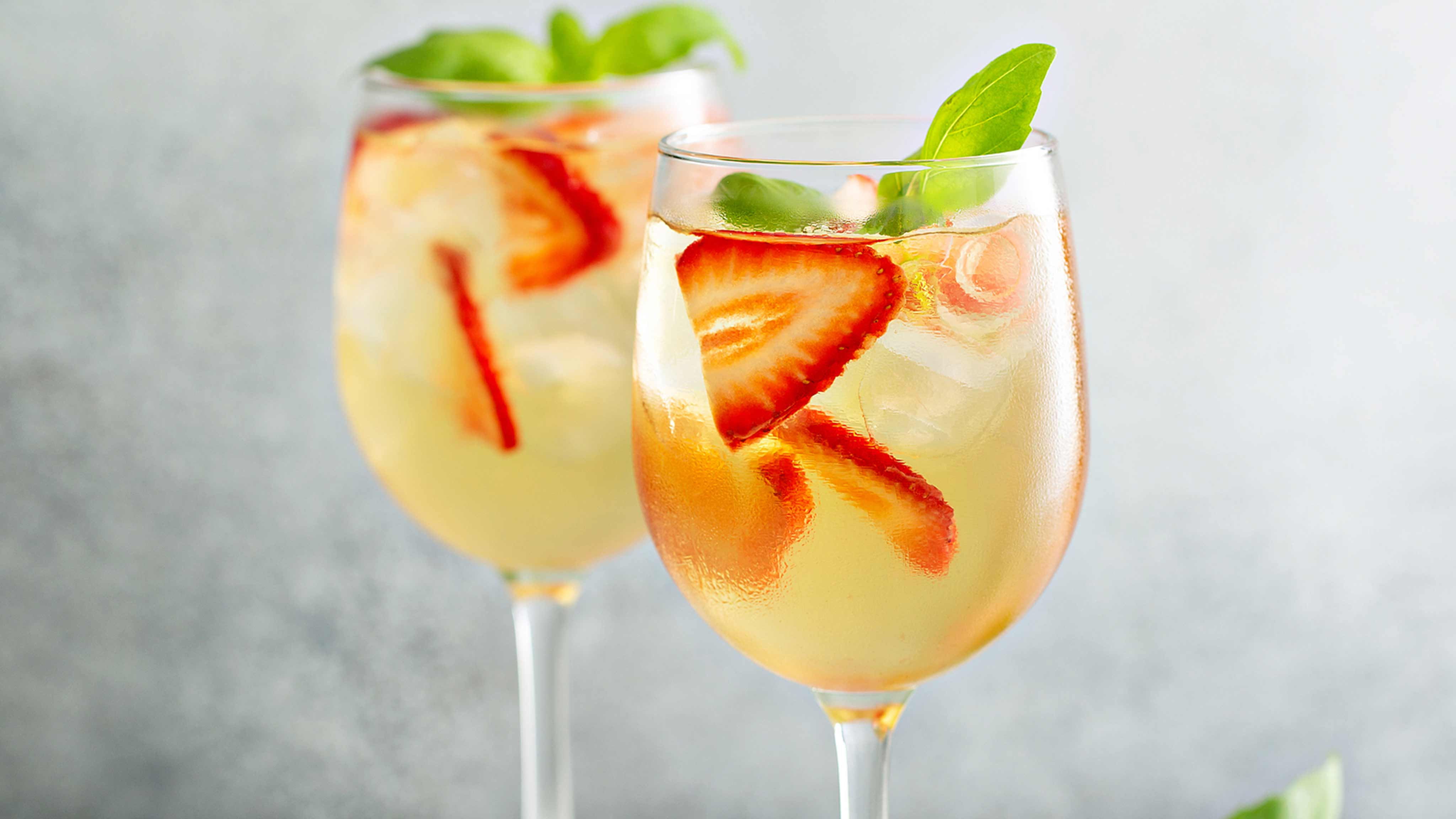 Image for Recipe Sparkling White Sangria with Strawberries and Basil
