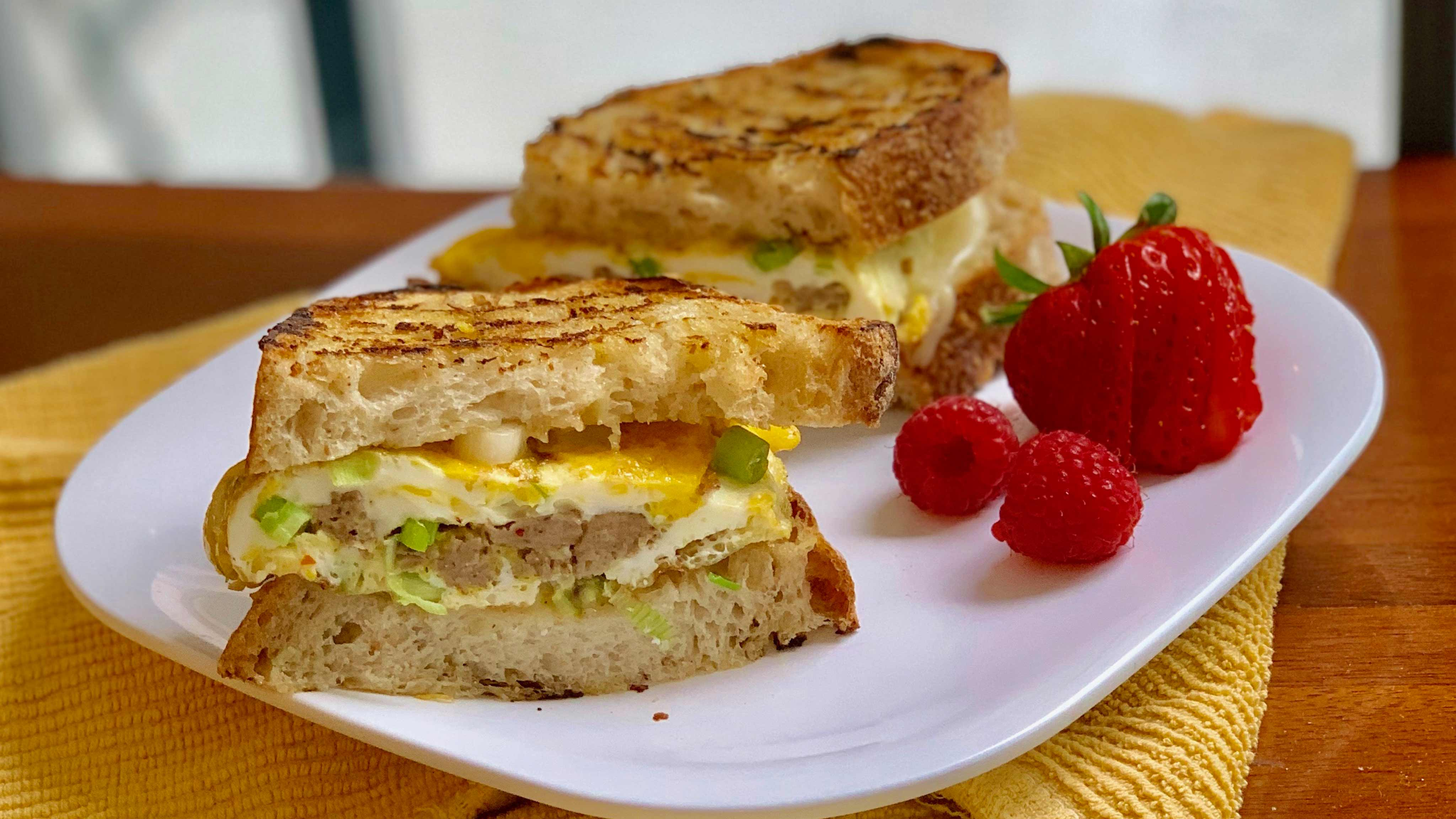 Image for Recipe Sausage and Swiss Breakfast Panini