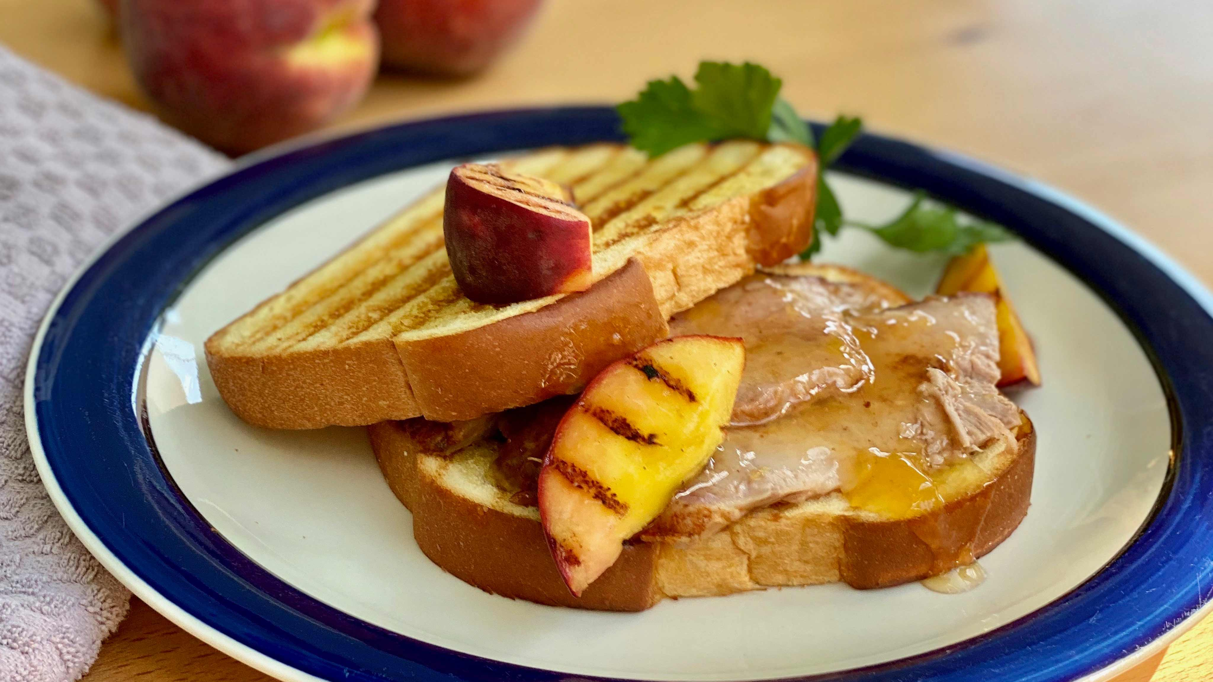 Image for Recipe Roasted Pork Shoulder with Grilled Peaches and Peach Glaze