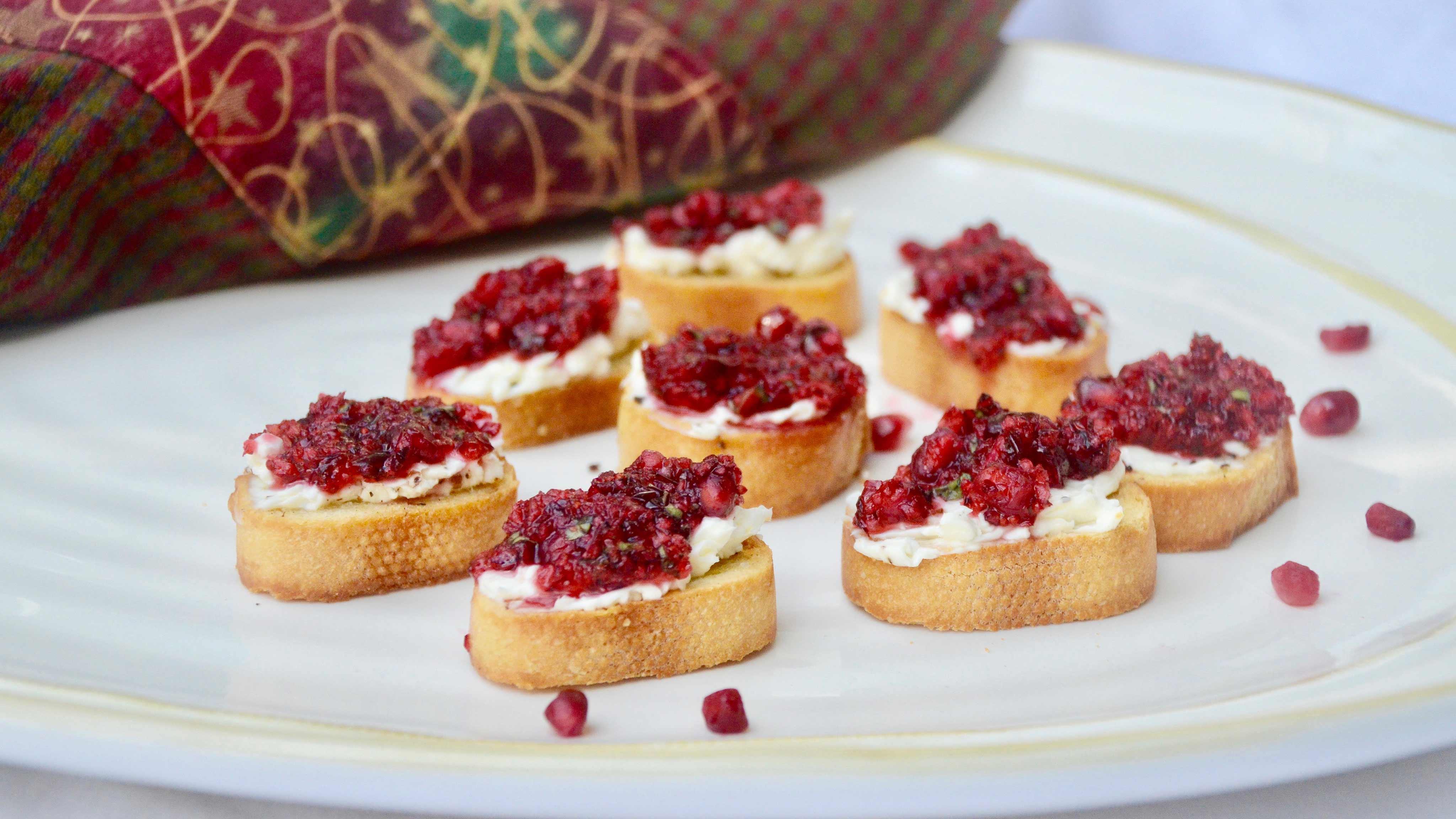 Image for Recipe Fresh Cranberry and Pomegranate Bruschetta
