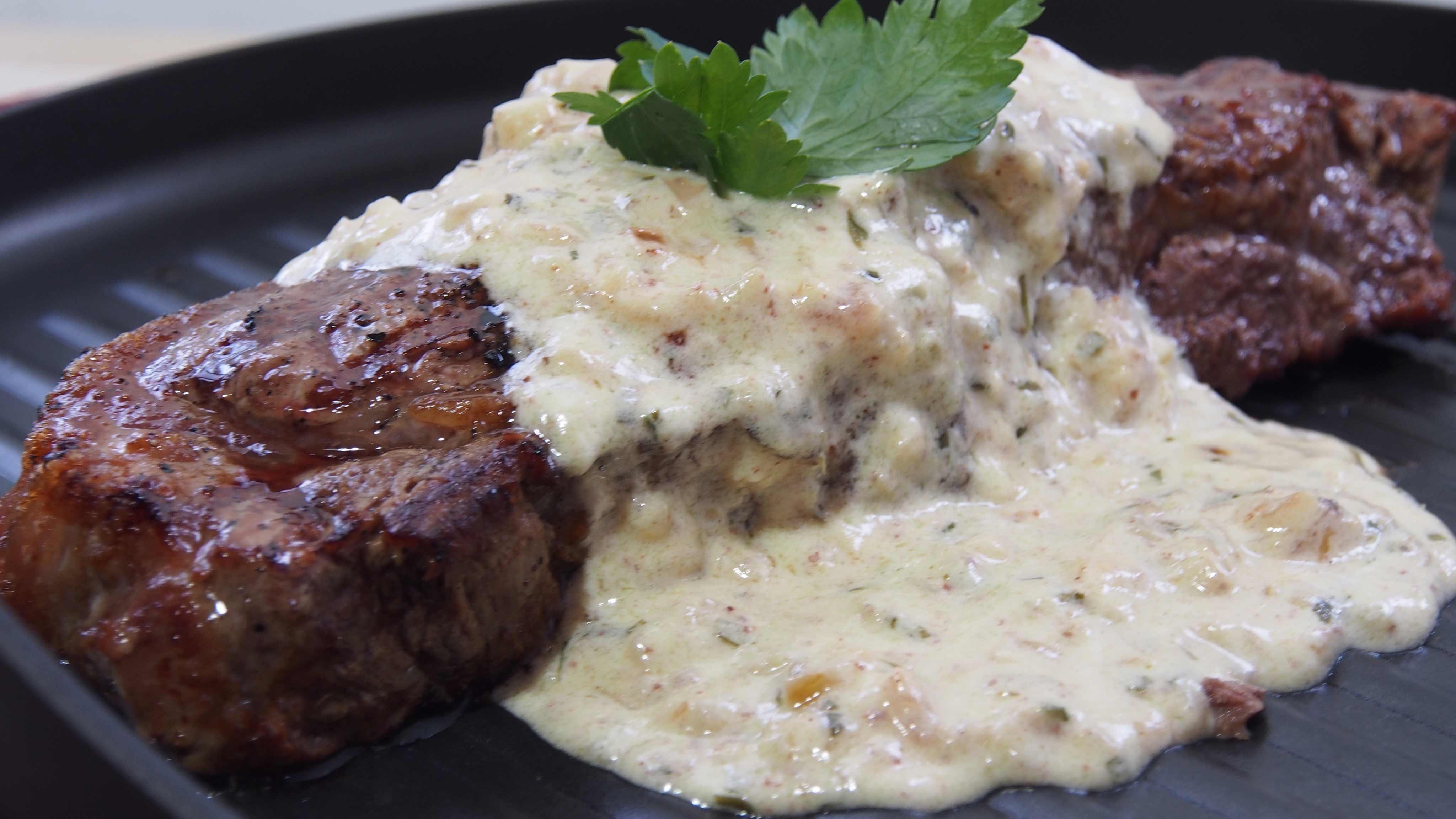 Image for Recipe Pan-Seared Steaks with Tarragon Garlic Cream Sauce