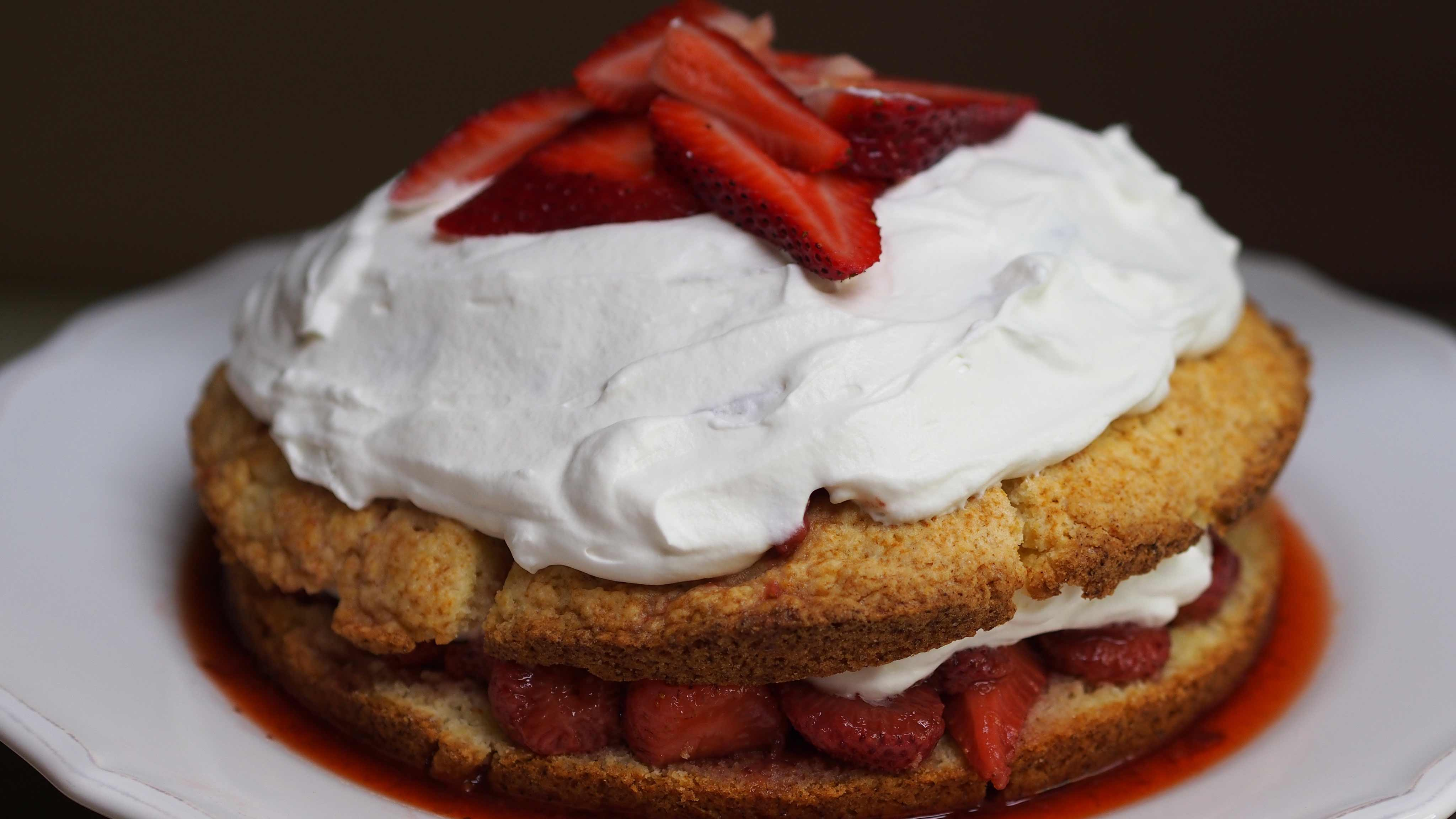 Image for Recipe Balsamic Strawberry Shortcake with Basil Simple Syrup