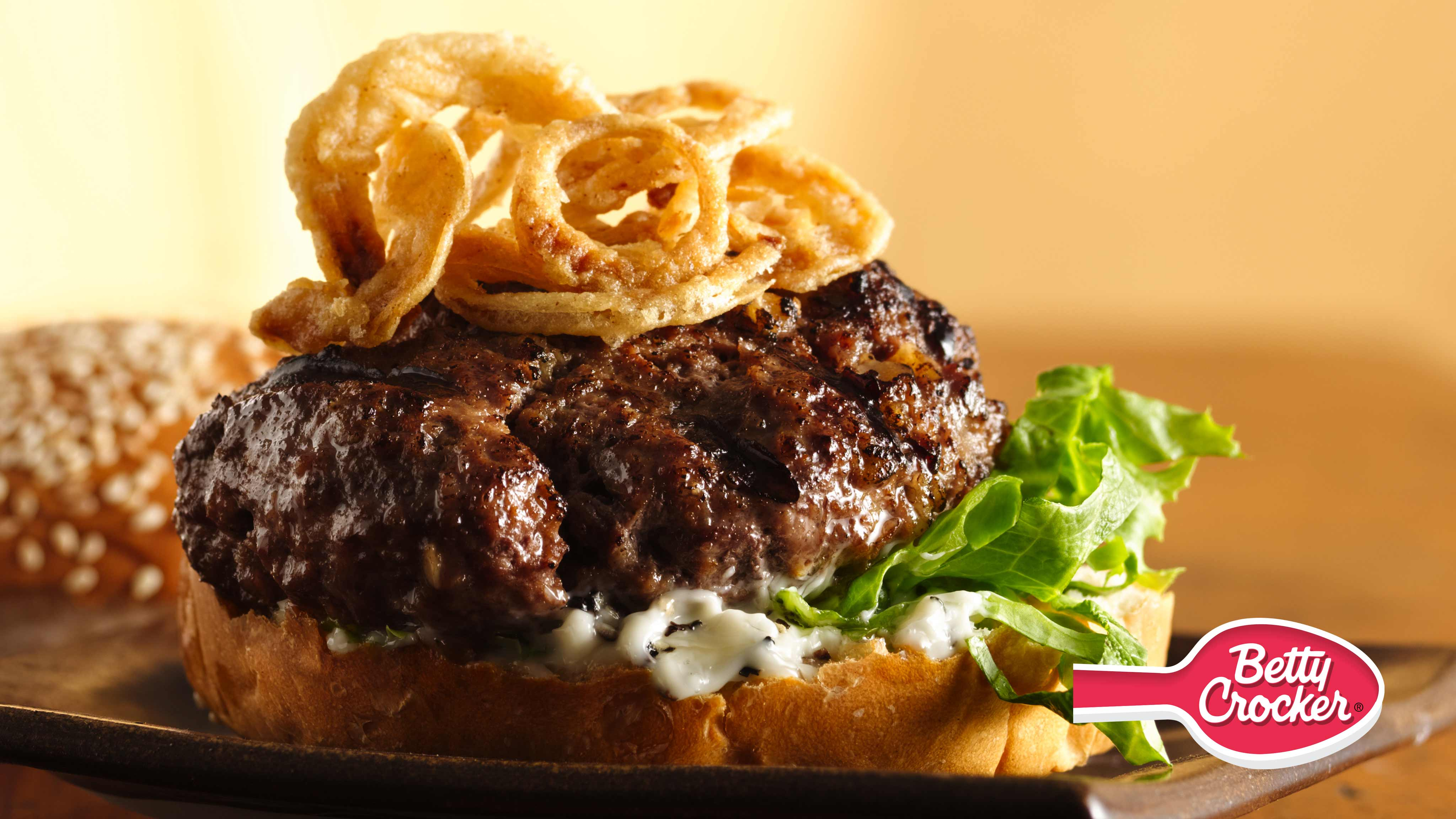 Image for Recipe Killer Steak Burgers with Black Pepper Mayo and Crispy Onions