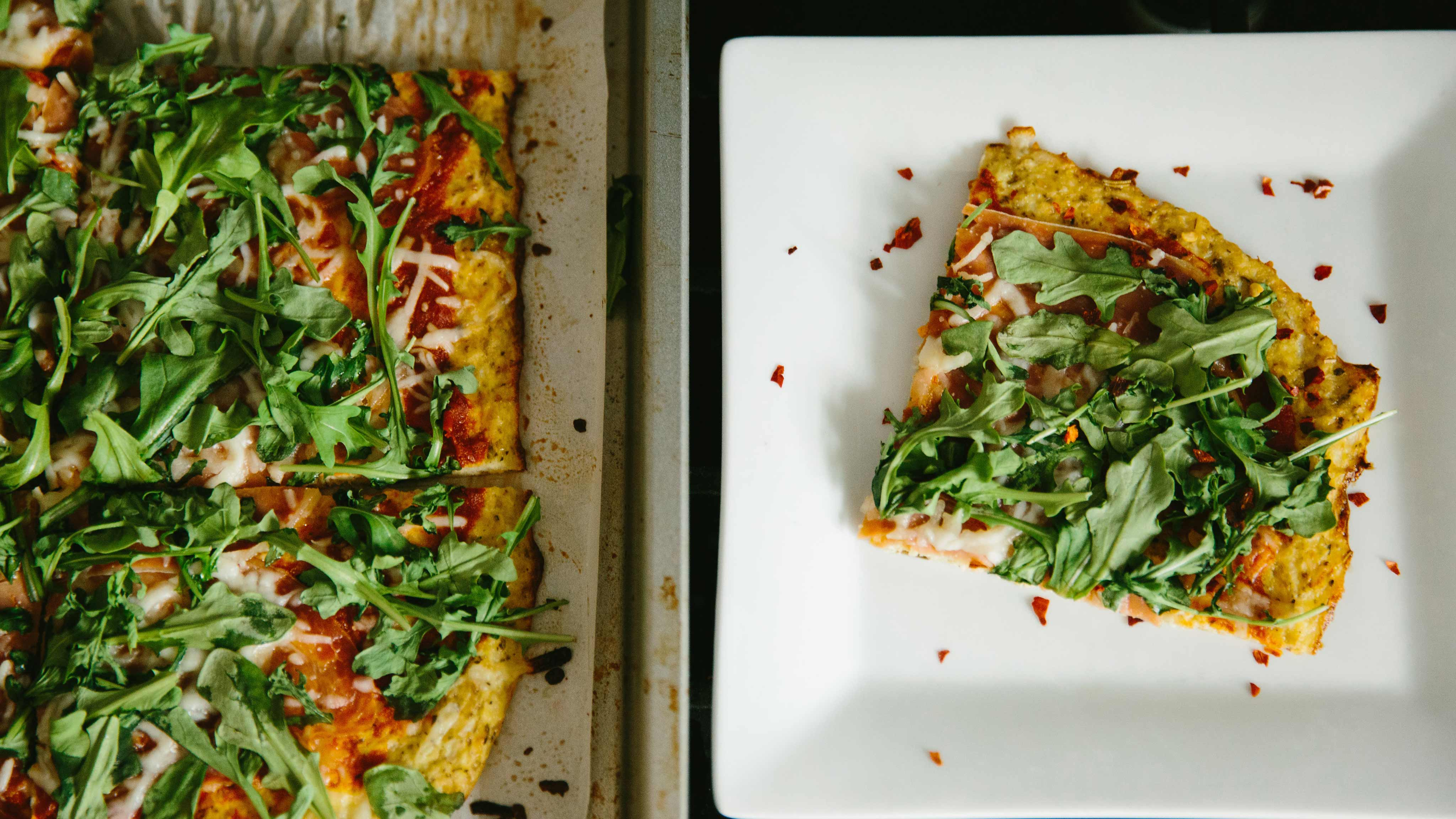 Image for Recipe Cauliflower Pizza with Prosciutto and Arugula