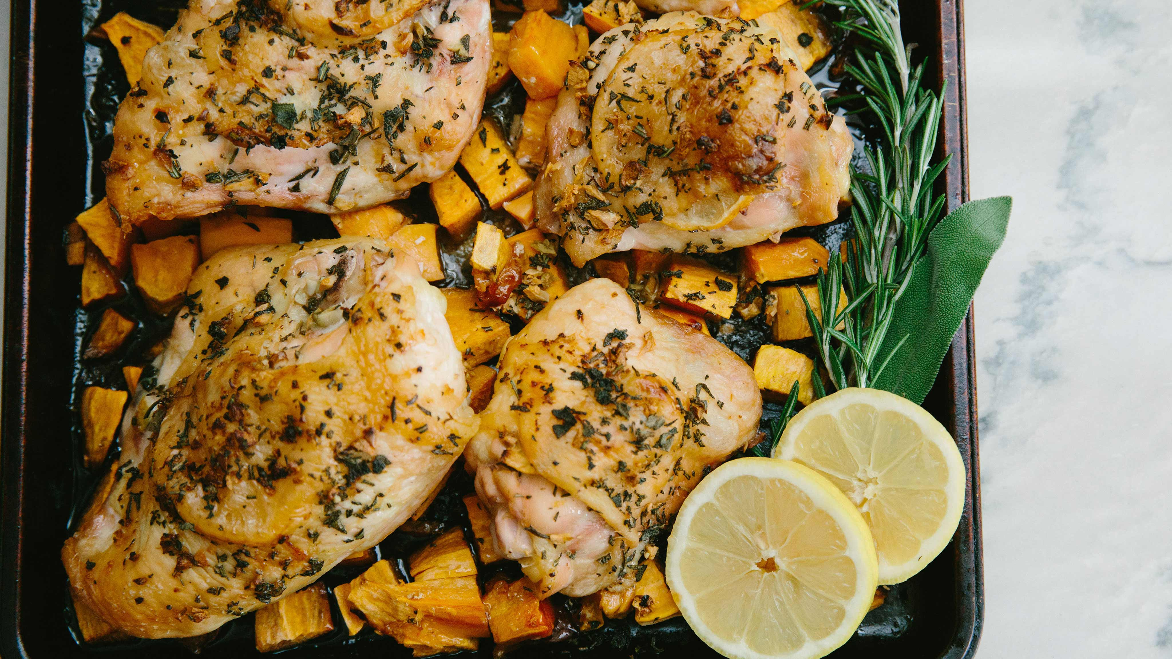 Image for Recipe Sage and Garlic Roast Chicken with Sweet Potatoes