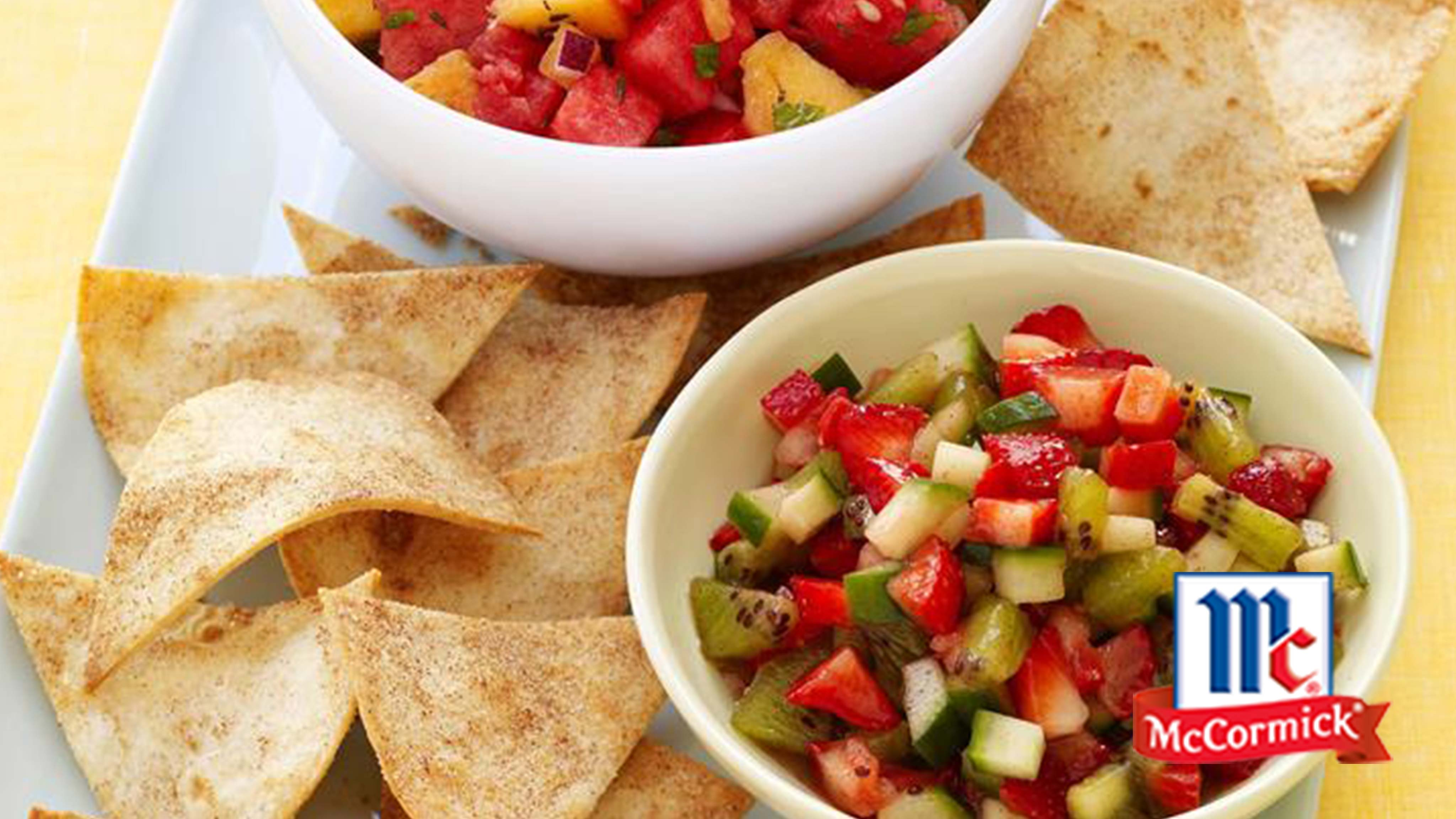 Image for Recipe Cool Strawberry Salsa with Cinnamon Tortilla Chips