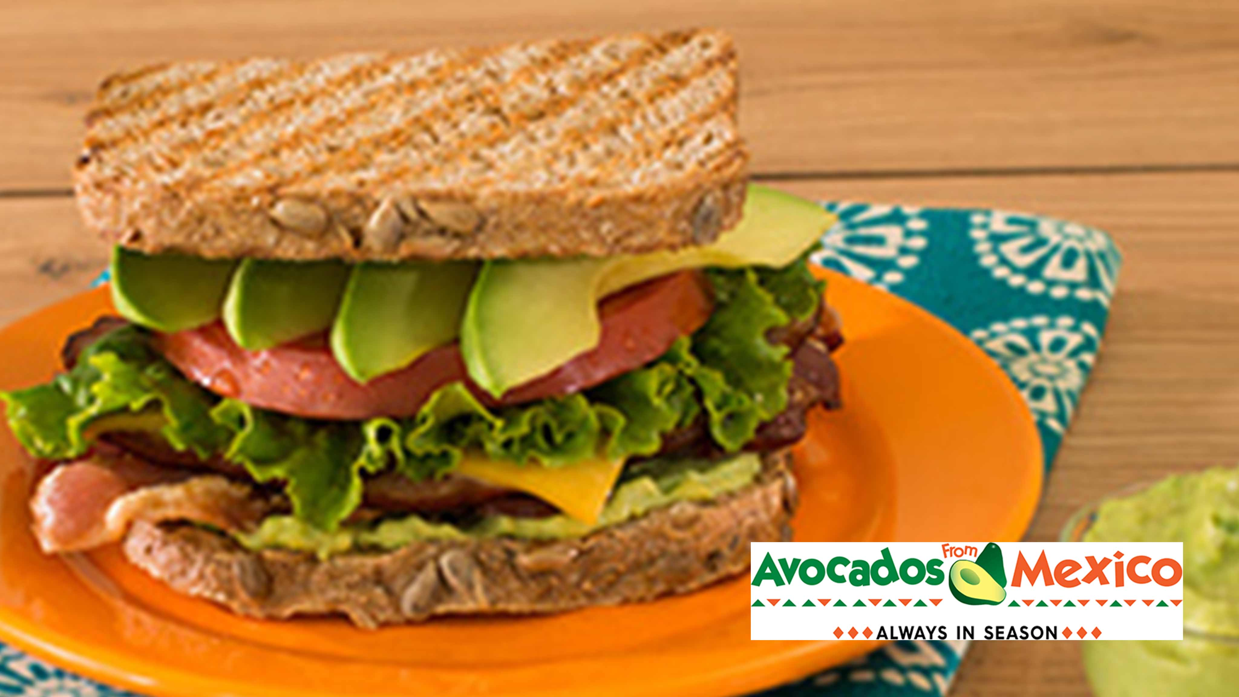 Image for Recipe Bacon and Avocado Topped Ham Sandwich with Avocado Dijonnaise Spread