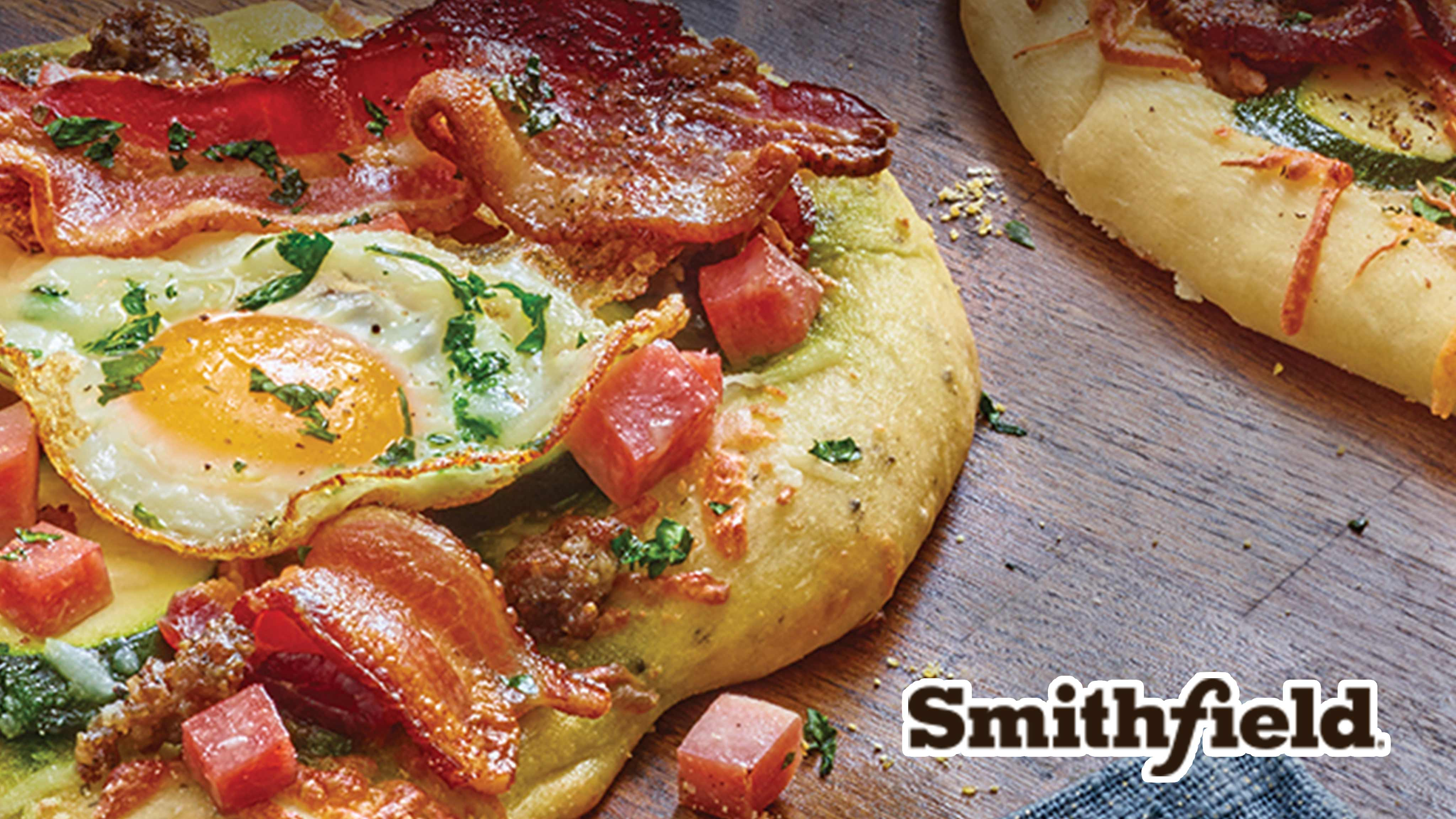 Image for Recipe Breakfast Pesto Pizzas with Bacon, Ham and Sausage