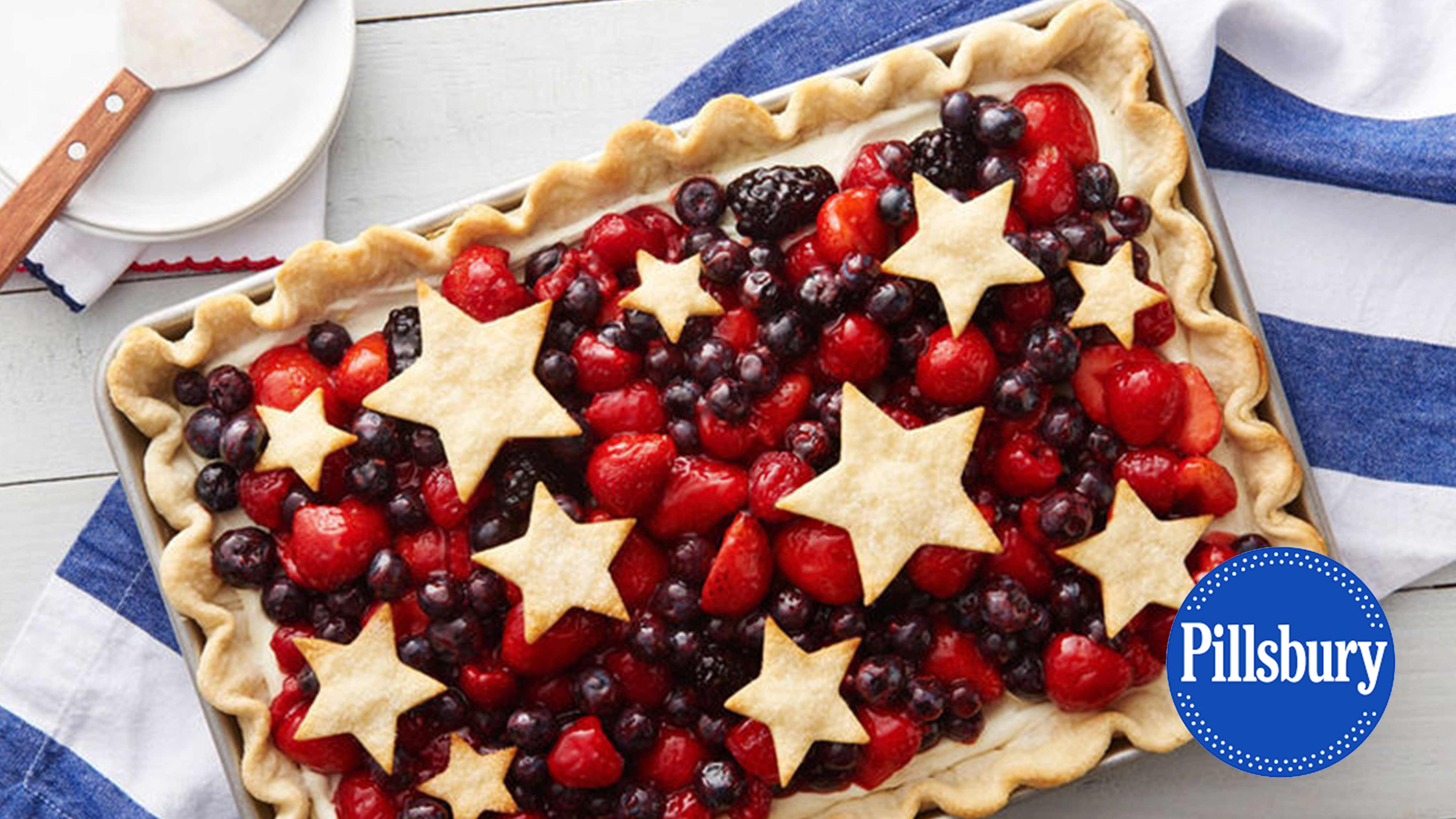 Image for Recipe Star Spangled Red, White and Blue Slab Pie