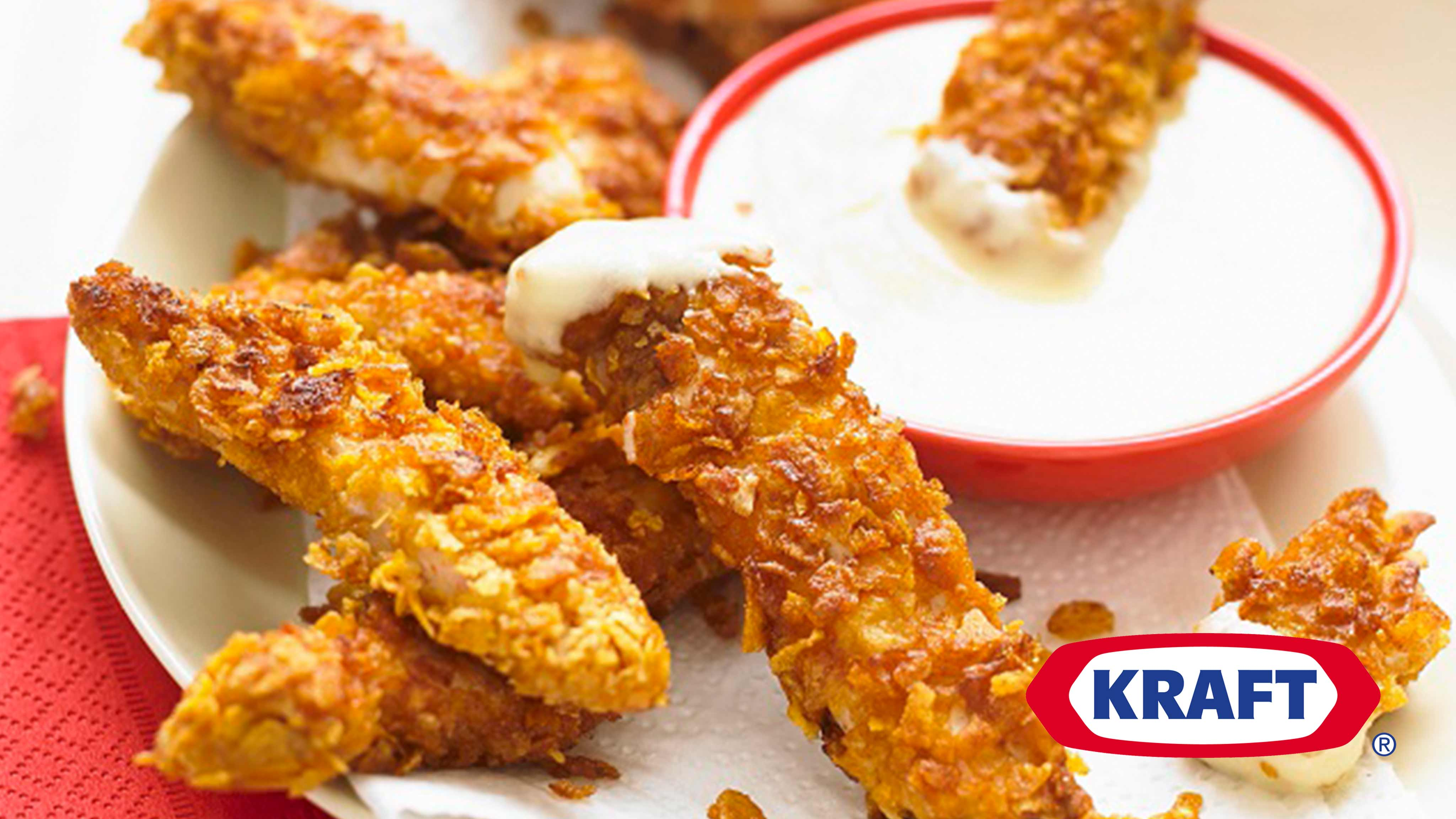 Crunchy Chicken Strips With Creamy Jalapeno Cheese Dip