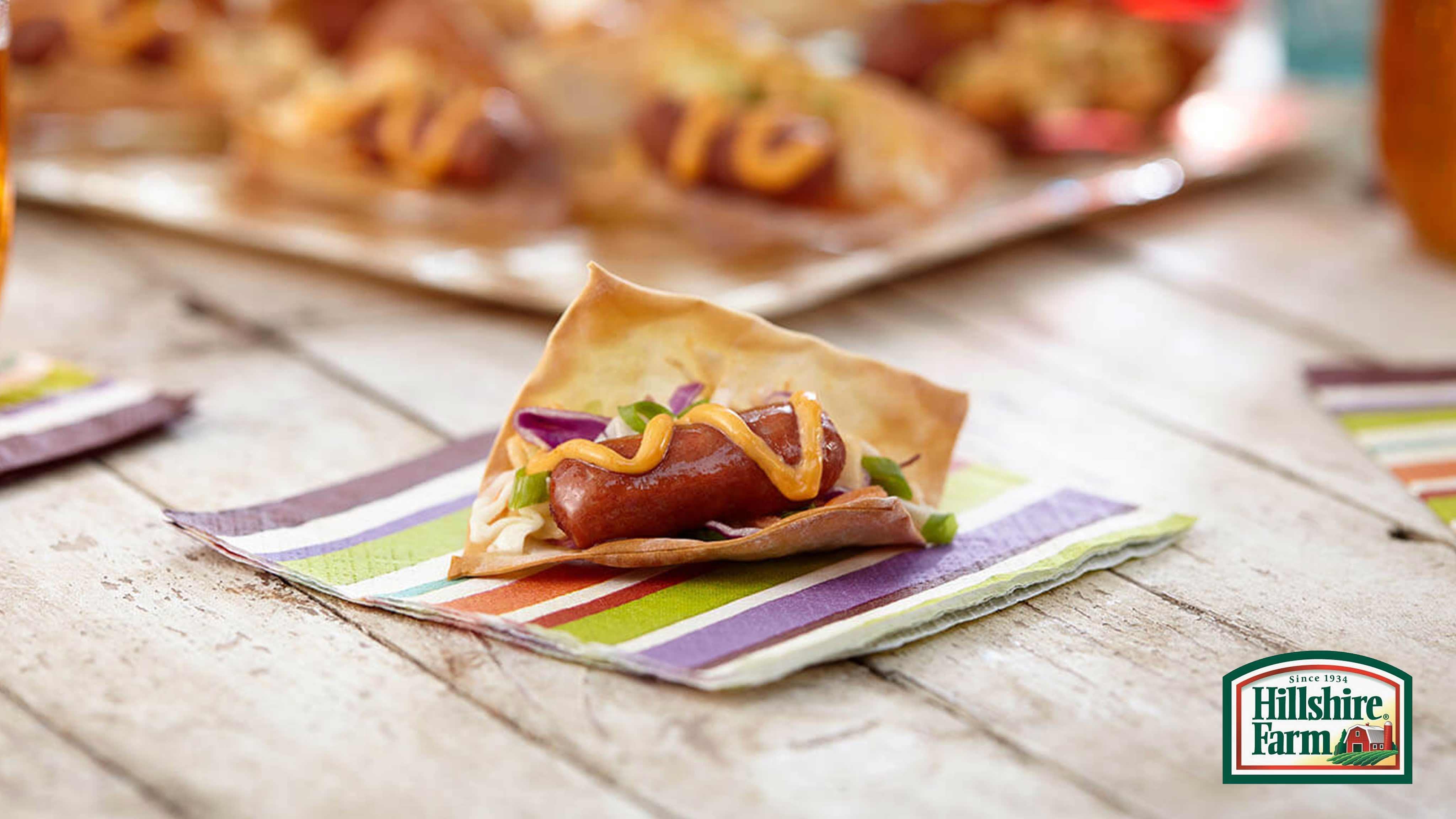 Image for Recipe Mini Wonton Sausage Tacos