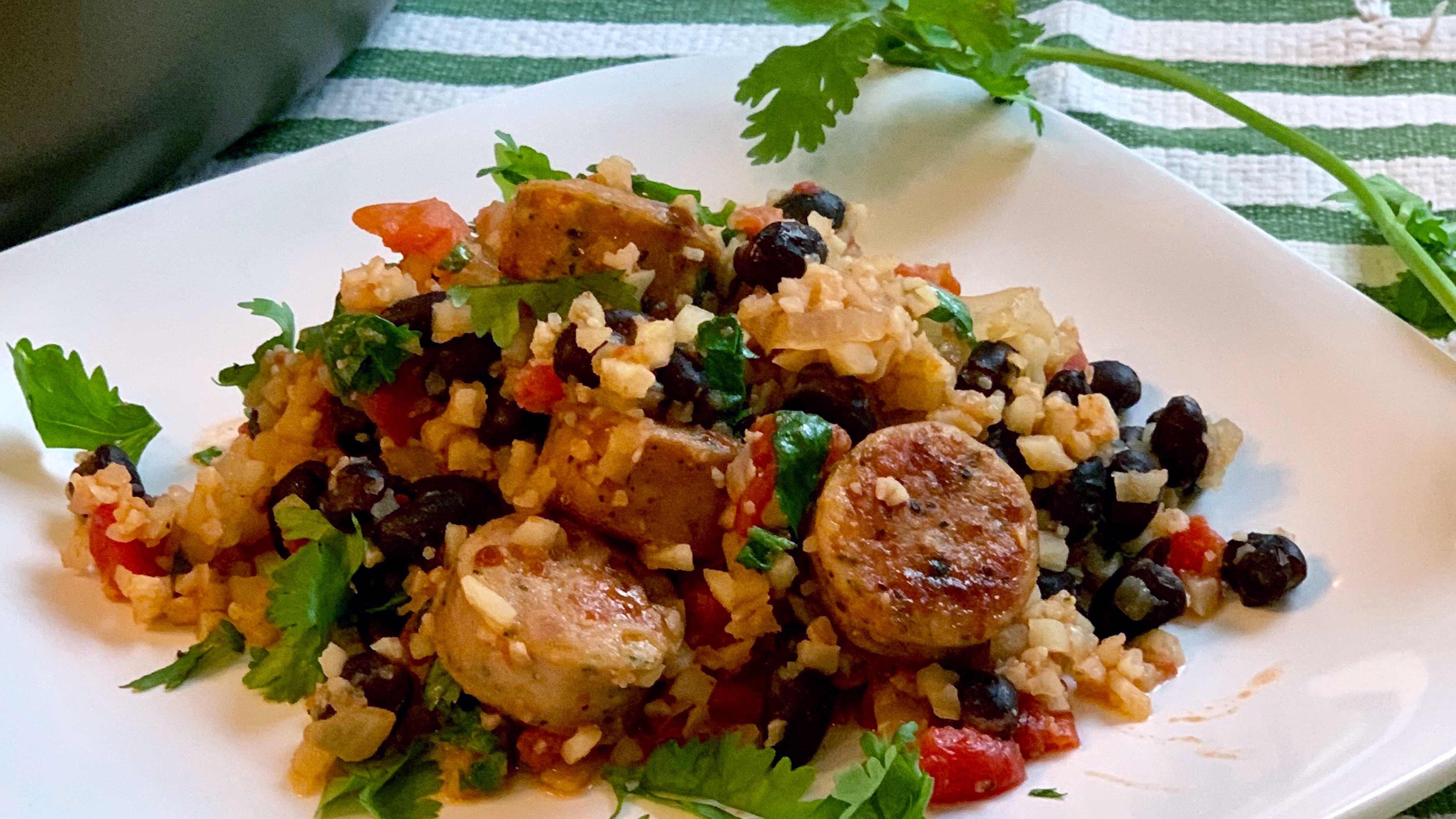 Image for Recipe Spanish Cauliflower Rice, Sausage and Beans