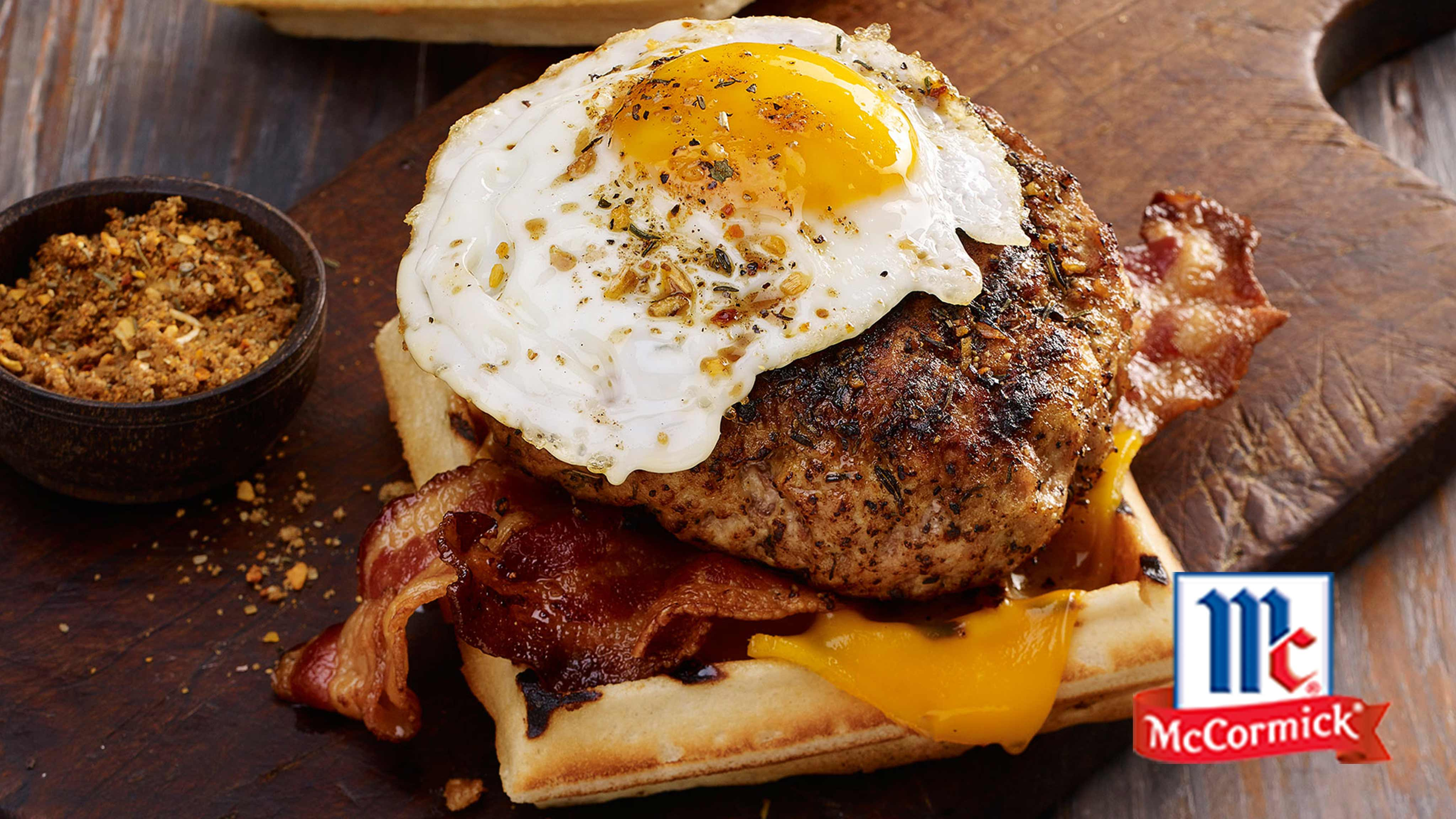 Image for Recipe Smoky Maple and Sage Breakfast Pork Burger