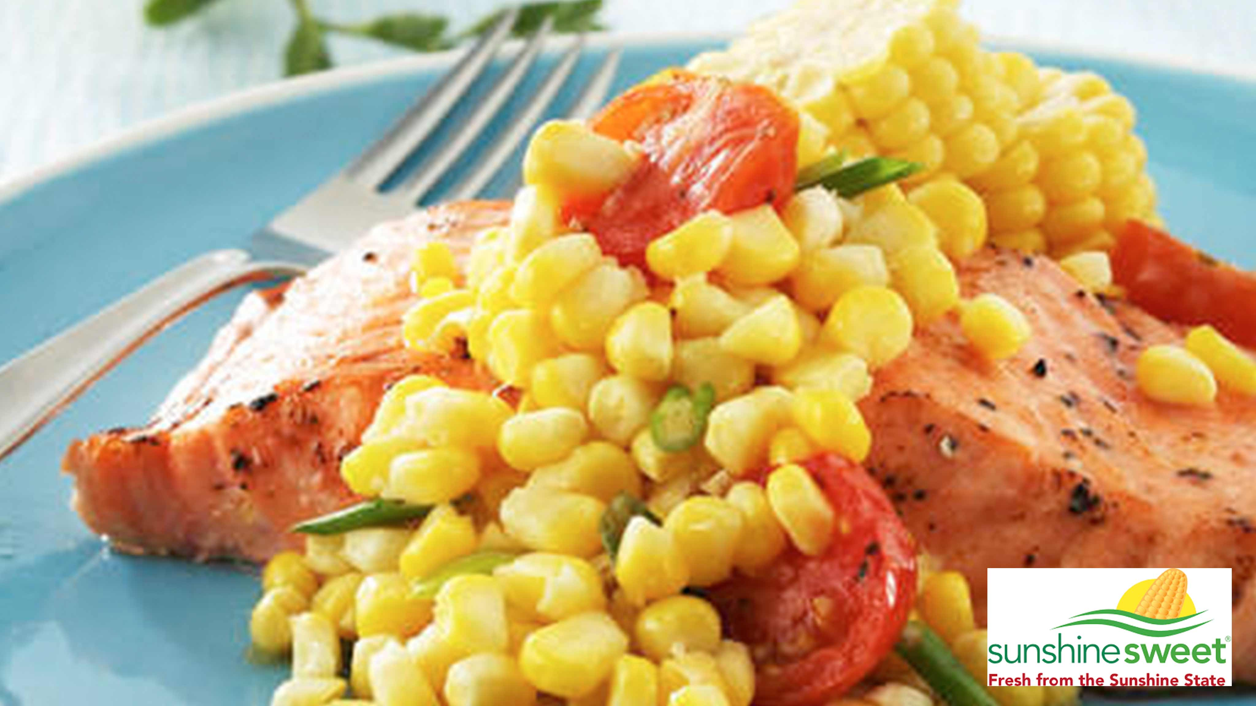 Image for Recipe Sweet Corn and Tomato Saute with Grilled Salmon