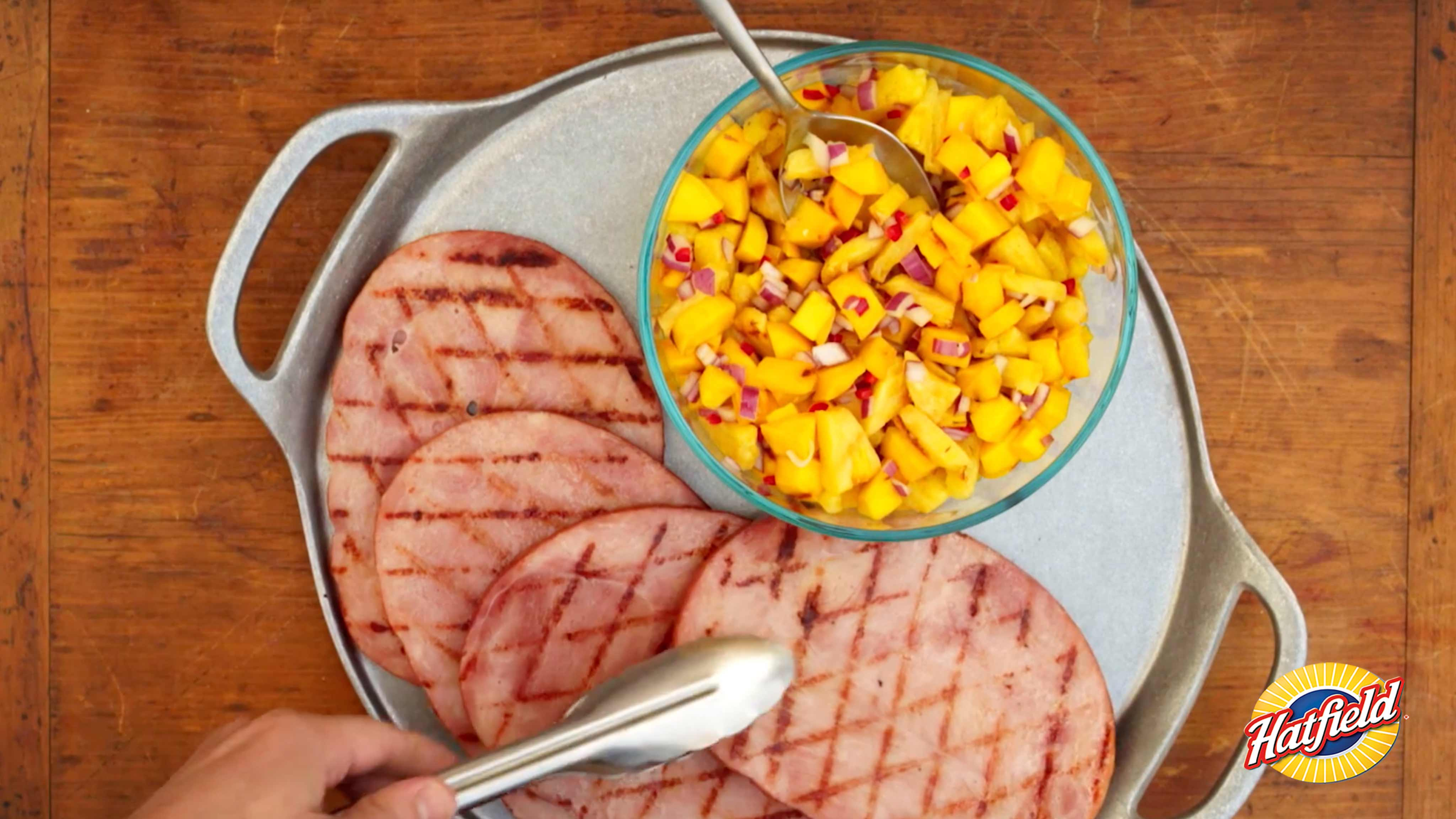 Image for Recipe Ham Steak with Grilled Mango Salsa