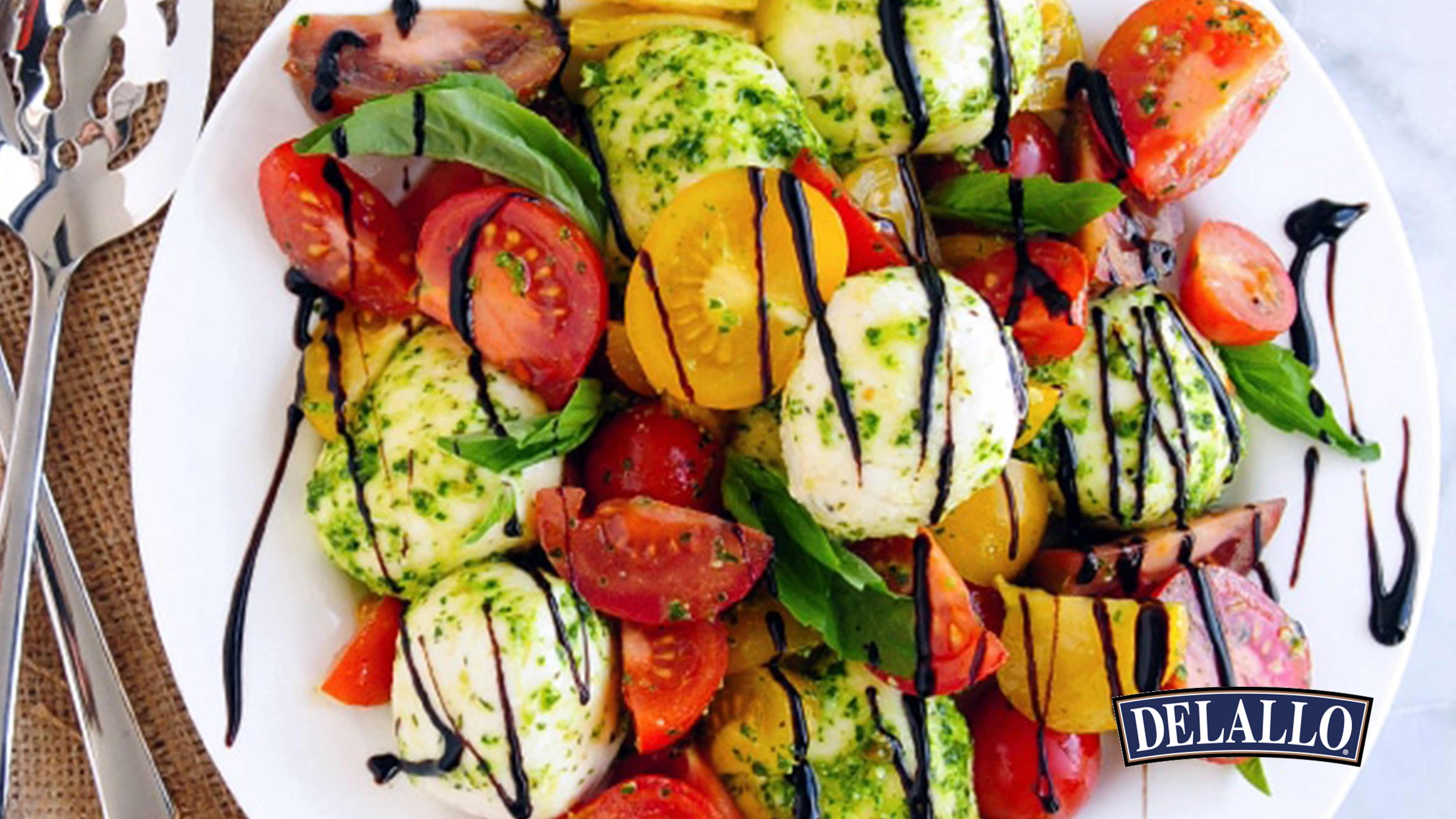 Image for Recipe Pesto Caprese Salad with Balsamic Glaze