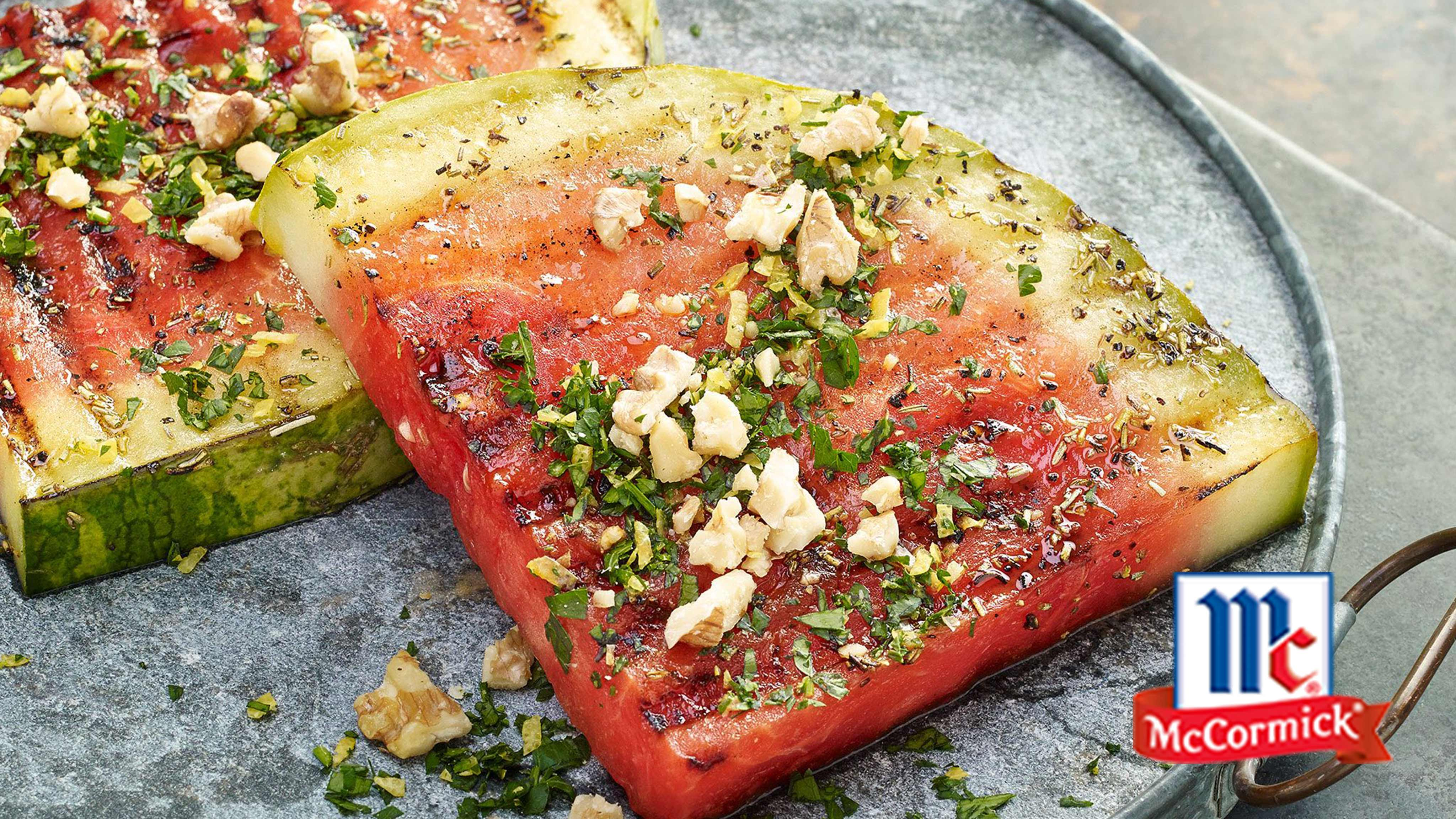 Image for Recipe Grilled Watermelon Steaks with Walnut Gremolata
