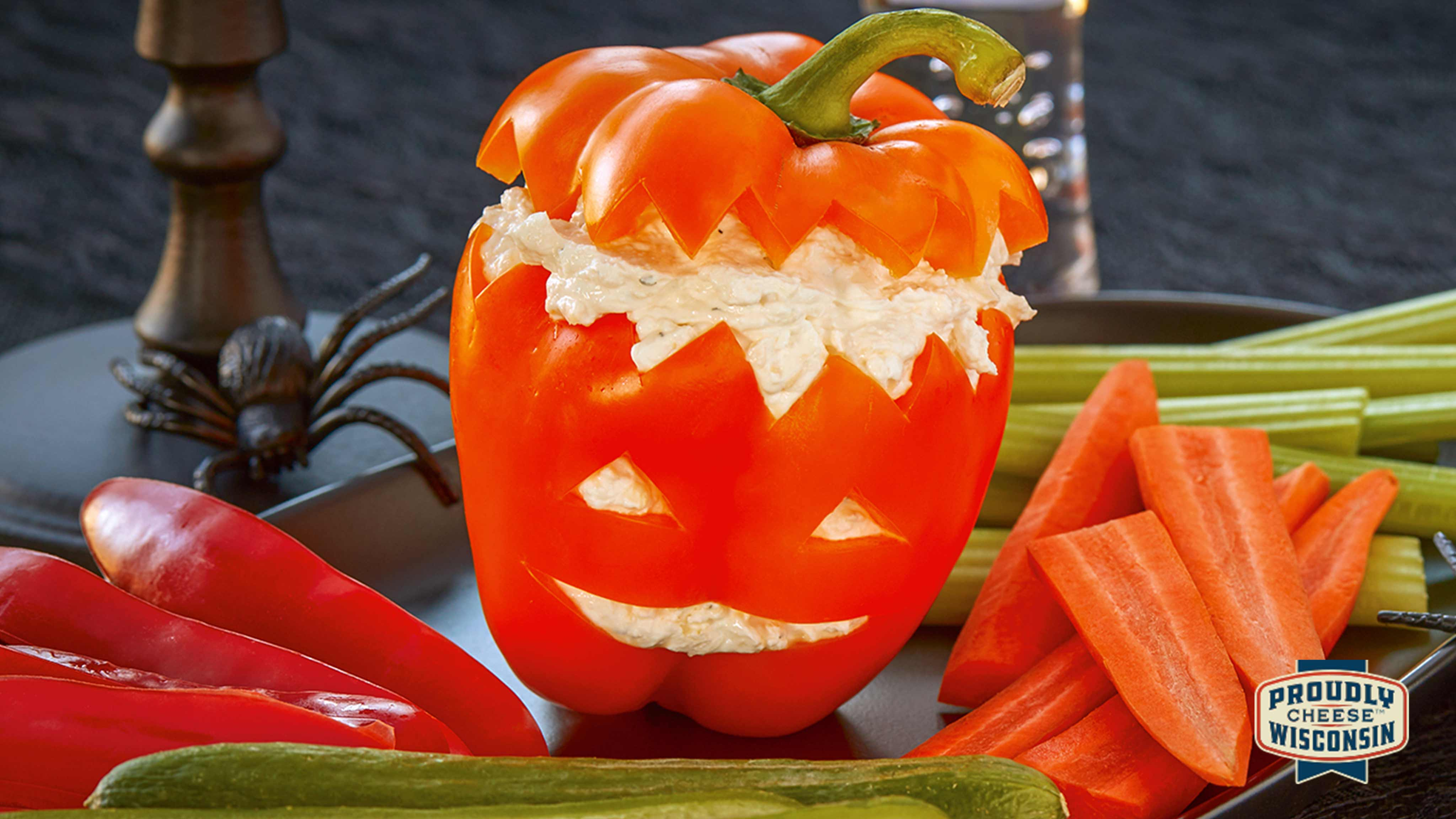 Image for Recipe Halloween Cheesy Veggie Dip