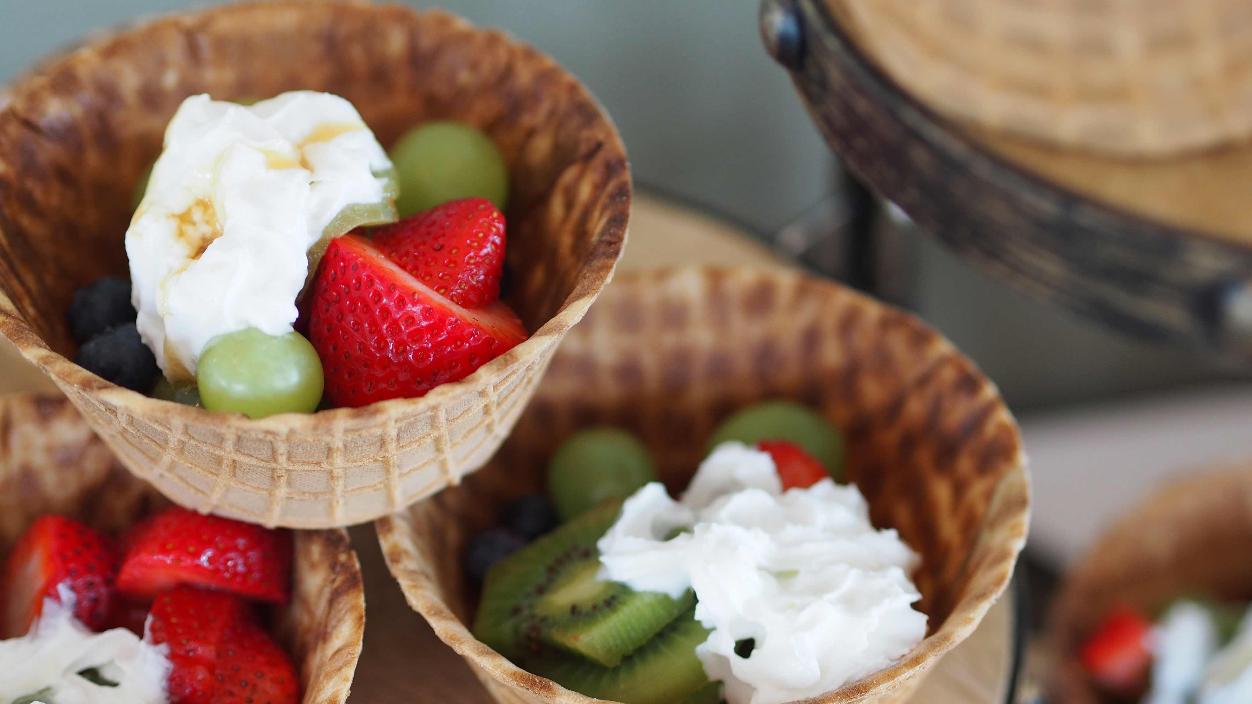 Image for Recipe Fresh Fruit Waffle Bowls
